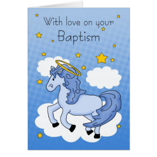 Baptism Card With Blue Horse
