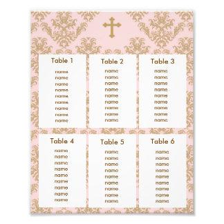 Baptism Christening Seating Chart Gold Pink Damask Photo Print