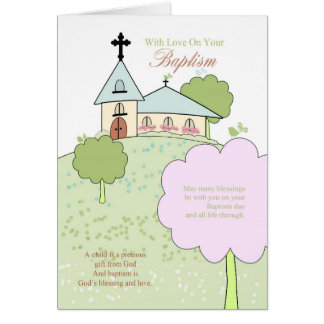 baptism greeting card with little church scene