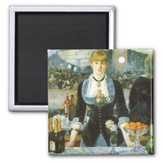 Bar at the Folies Bergere by Manet, Vintage Art Square Magnet