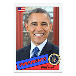 Barack Obama Baseball Card 9 Cm X 13 Cm Invitation Card