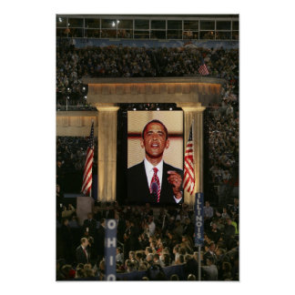 Barak Obama speaks at the last night of the Poster