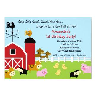 Barn Animal Fun Birthday Party 13 Cm X 18 Cm Invitation Card