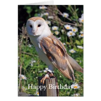 Barn Owl Birthday Card