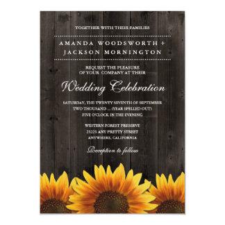 Barn Wood + Rustic Sunflower Wedding Invitations