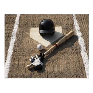 Baseball, bat, batting gloves and baseball postcard