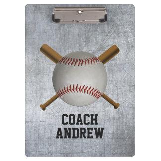 Baseball Coach Crossed Bats & Ball Grunge Metal Clipboard