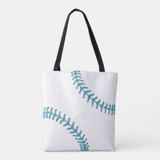 Baseball Tote with Blue Threads Tote Bag