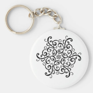 Basic Button Keychain-Black and White Design Basic Round Button Key Ring