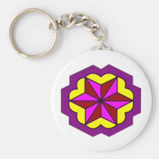 Basic Button Keychain-Star With Yellow Background Basic Round Button Key Ring