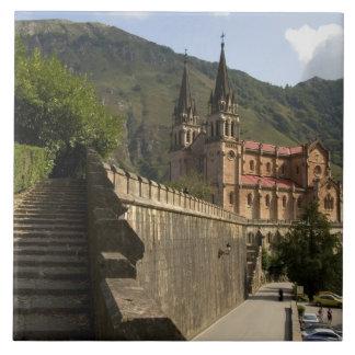 Basilica de Covadonga, northwestern Spain. Large Square Tile