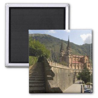 Basilica de Covadonga, northwestern Spain. Square Magnet