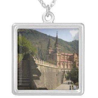 Basilica de Covadonga, northwestern Spain. Square Pendant Necklace