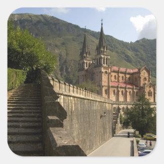 Basilica de Covadonga, northwestern Spain. Square Sticker