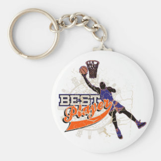 Basketball Best Player Orange and Blue T-shirts Basic Round Button Key Ring