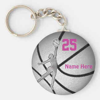 Basketball Gifts for Girls Team PERSONALIZED Basic Round Button Key Ring