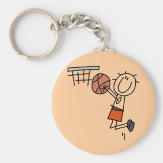Basketball Jump Shot - Orange T-shirts and Gifts Basic Round Button Key Ring
