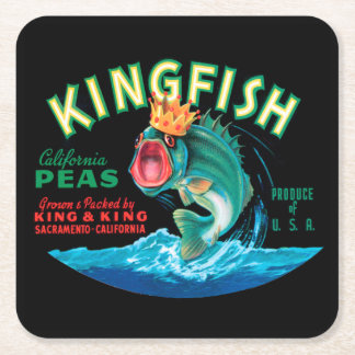 Bass Fish Wearing a Crown on a Black Background Square Paper Coaster