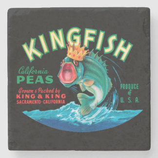 Bass Fish Wearing a Crown on a Black Background Stone Beverage Coaster