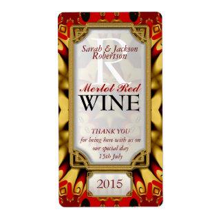 Batik Red Gold Eastern Custom Wine Bottle Labels