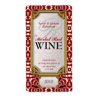 Batik Red white design Custom Wine Bottle Labels