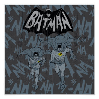 Batman And Robin With Logo Distressed Graphic Poster