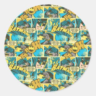 Batman Comic Capers Pattern 2 Round Sticker