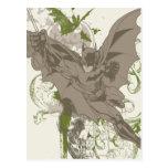 Batman Swinging Collage with Skull Postcard