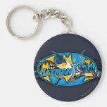 Batman Symbol | Classic Collage Logo Basic Round Button Key Ring