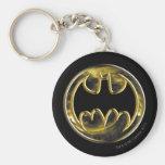 Batman Symbol | Gold Logo Basic Round Button Key Ring