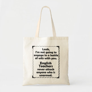 Battle of Wits English Teacher Budget Tote Bag