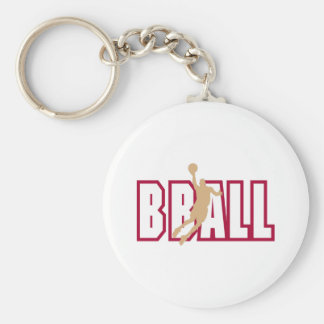 Bball Basic Round Button Key Ring