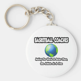 BBall Coaches...Making the World a Better Place Basic Round Button Key Ring