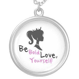 be bold love yourself round pendant necklace