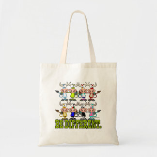 BE DIFFERENT funny funky cows Budget Tote Bag