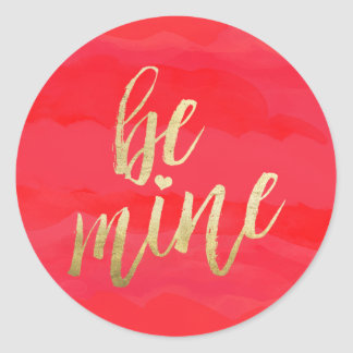 Be Mine Gold and Red Watercolor Round Sticker