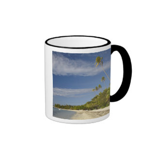 Beach and palm trees, Plantation Island Resort Ringer Mug
