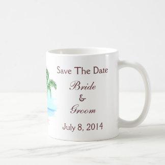 Beach And Palm Trees Wedding Save The Date Basic White Mug