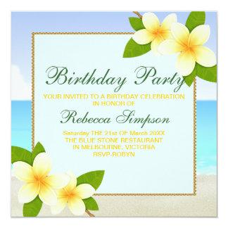 Beach & Frangipani Birthday Invitation