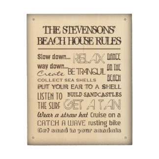 Beach House Rules Wooden Sign with your Name Wood Canvases