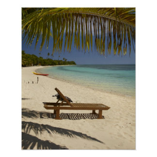 Beach, palm trees & lounger poster
