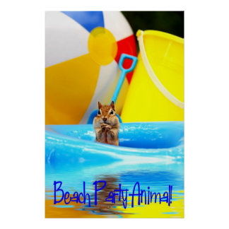 Beach Party Animal Chipmunk Poster