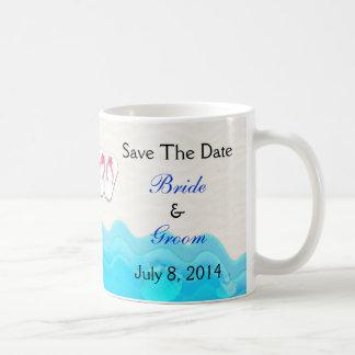 Beach Sandals Wedding Save The Date Basic White Mug