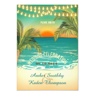 Beach Sunset Wedding 13 Cm X 18 Cm Invitation Card