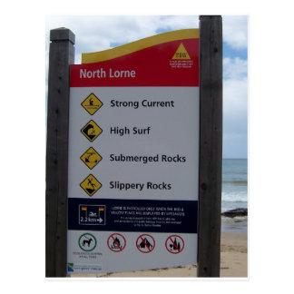 Beach Warning Sign Postcard