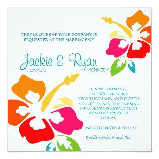 Beach Wedding Invitation Hibiscus Flower Colorful