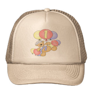 Bear and Balloons 1st Birthday Cap
