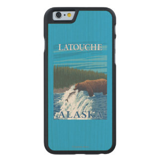 Bear Fishing in River - Latouche, Alaska Carved® Maple iPhone 6 Slim Case