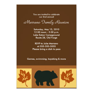 BEAR Rustic Lodge style 5x7 Party Invitation