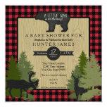 Bear Woodland Forest Lumberjack Plaid Baby Shower 13 Cm X 13 Cm Square Invitation Card